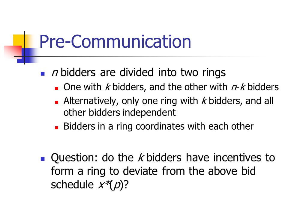 Pre-Communication n bidders are divided into two rings One with k bidders, and the other with n-k bidders Alternatively, only one ring with k bidders, and all other bidders independent Bidders in a ring coordinates with each other Question: do the k bidders have incentives to form a ring to deviate from the above bid schedule x*(p)