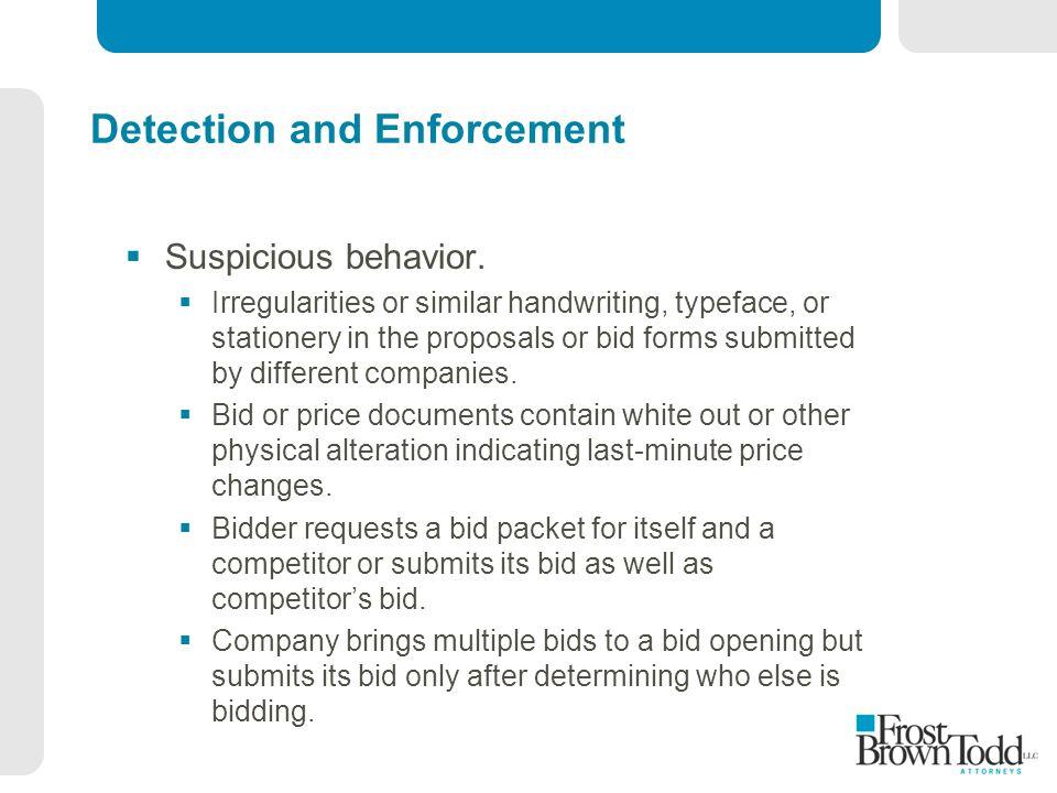 Detection and Enforcement  Suspicious behavior.