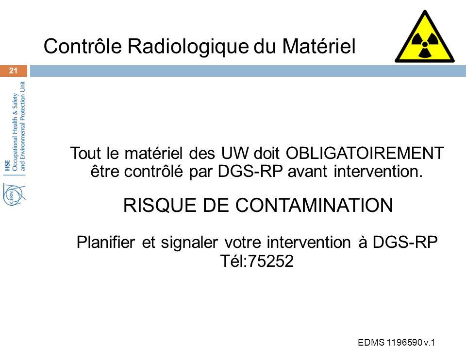 Tout le matériel des UW doit OBLIGATOIREMENT être contrôlé par DGS-RP avant intervention.