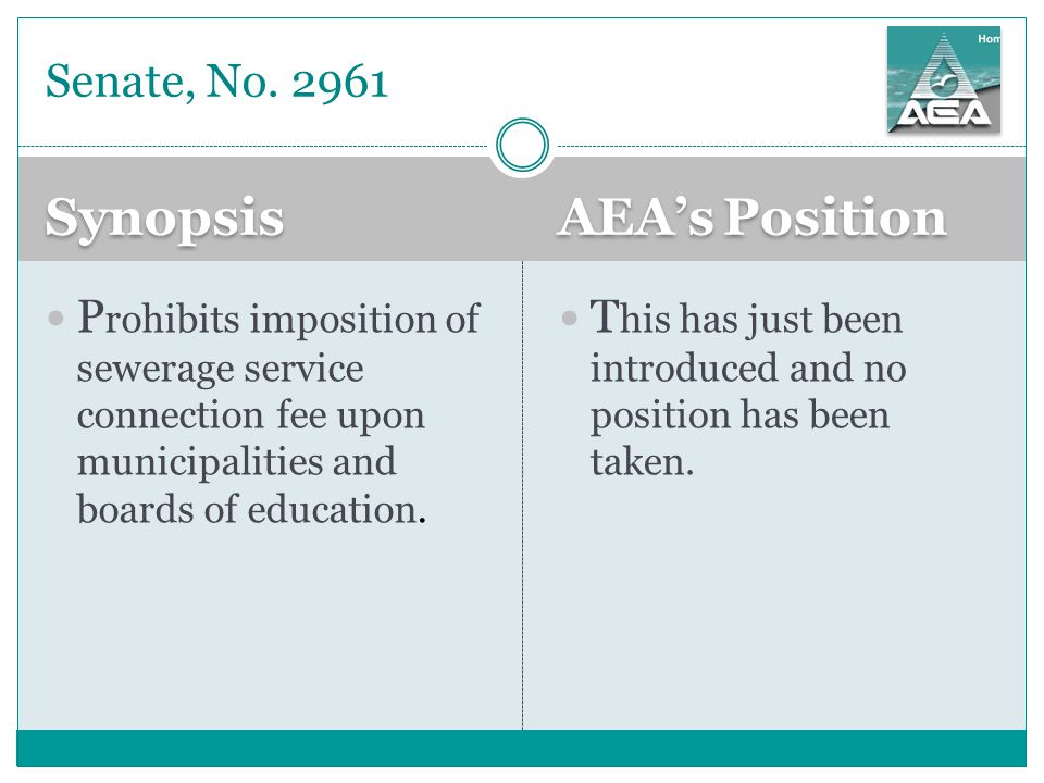 Synopsis AEA's Position T his has just been introduced and no position has been taken.