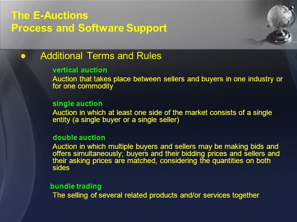 The E-Auctions Process and Software Support Additional Terms and Rules vertical auction Auction that takes place between sellers and buyers in one ind