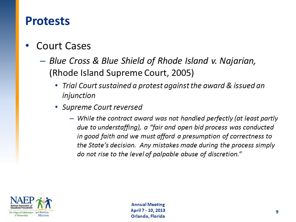 Protests Court Cases – Blue Cross & Blue Shield of Rhode Island v.