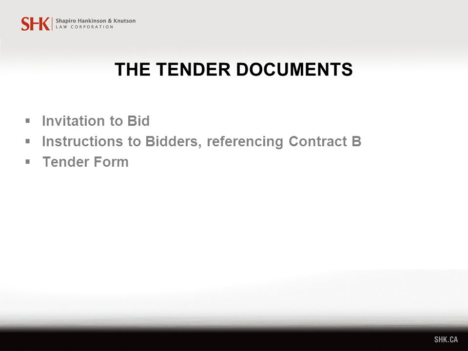 THE TENDER DOCUMENTS  Invitation to Bid  Instructions to Bidders, referencing Contract B  Tender Form