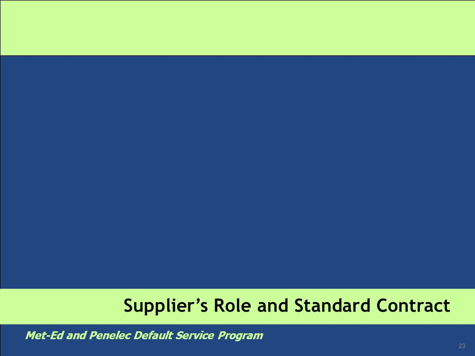 23 Met-Ed and Penelec Default Service Program Supplier's Role and Standard Contract
