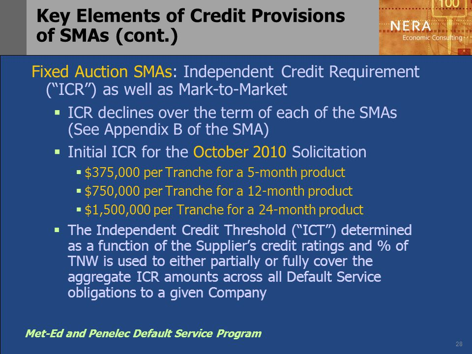 "28 Met-Ed and Penelec Default Service Program Key Elements of Credit Provisions of SMAs (cont.) Fixed Auction SMAs: Independent Credit Requirement (""I"