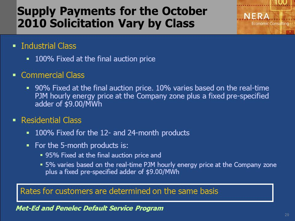 29 Met-Ed and Penelec Default Service Program Supply Payments for the October 2010 Solicitation Vary by Class  Industrial Class  100% Fixed at the f