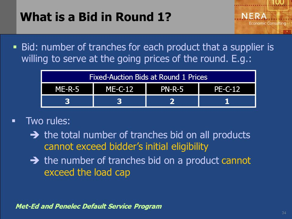 34 Met-Ed and Penelec Default Service Program What is a Bid in Round 1?  Bid: number of tranches for each product that a supplier is willing to serve