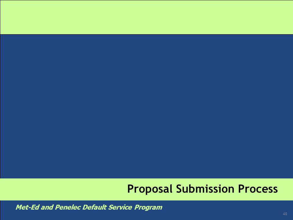 48 Met-Ed and Penelec Default Service Program Proposal Submission Process