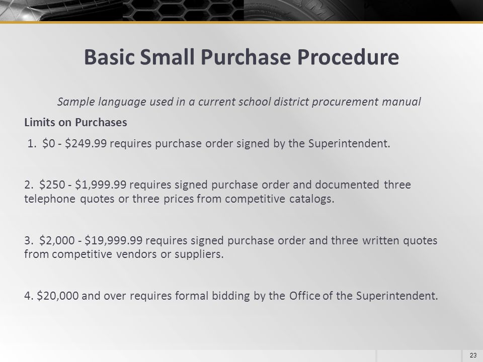 Basic Small Purchase Procedure 23 Sample language used in a current school district procurement manual Limits on Purchases 1. $0 - $249.99 requires pu