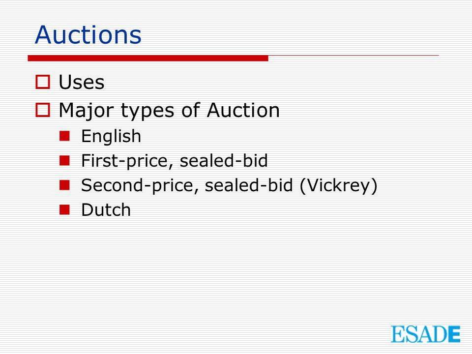 English Auction  An ascending sequential bid auction.