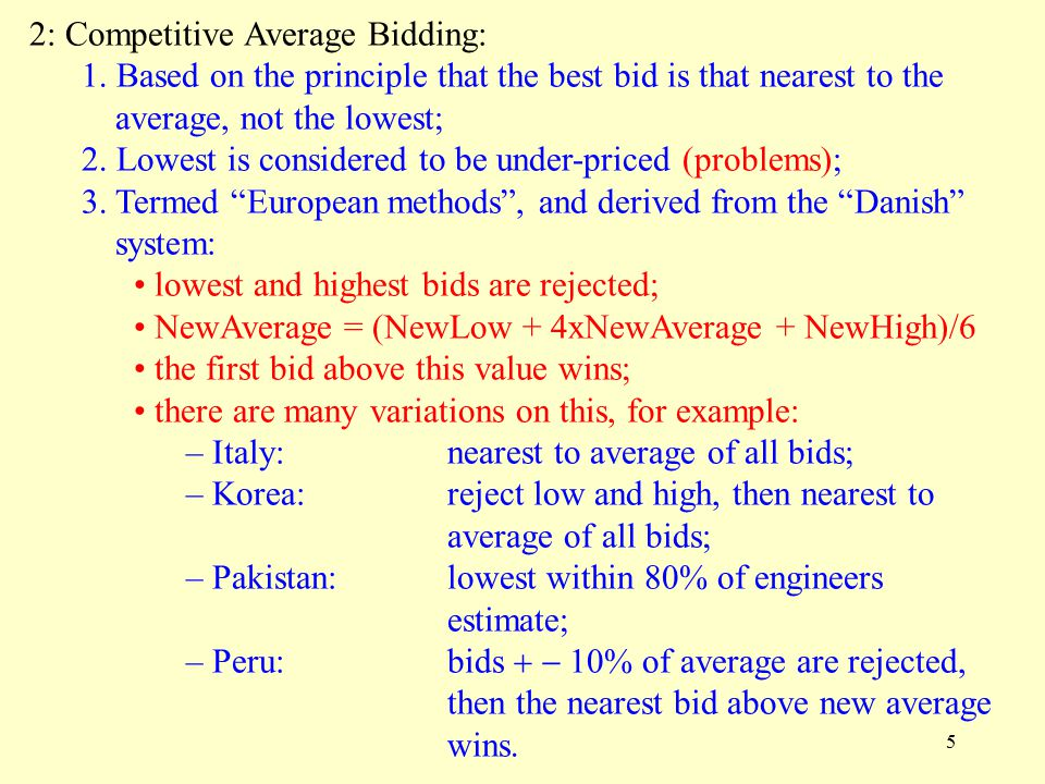 5 2: Competitive Average Bidding: 1.