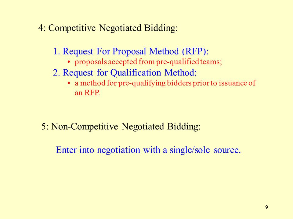 9 4: Competitive Negotiated Bidding: 1.