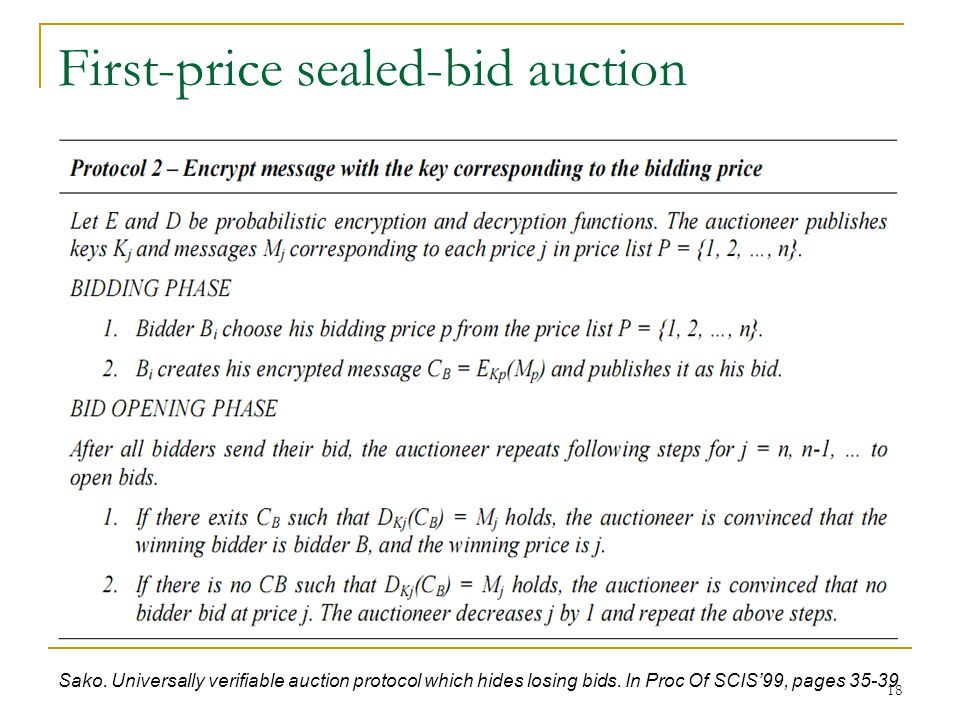 18 First-price sealed-bid auction Sako. Universally verifiable auction protocol which hides losing bids. In Proc Of SCIS'99, pages 35-39