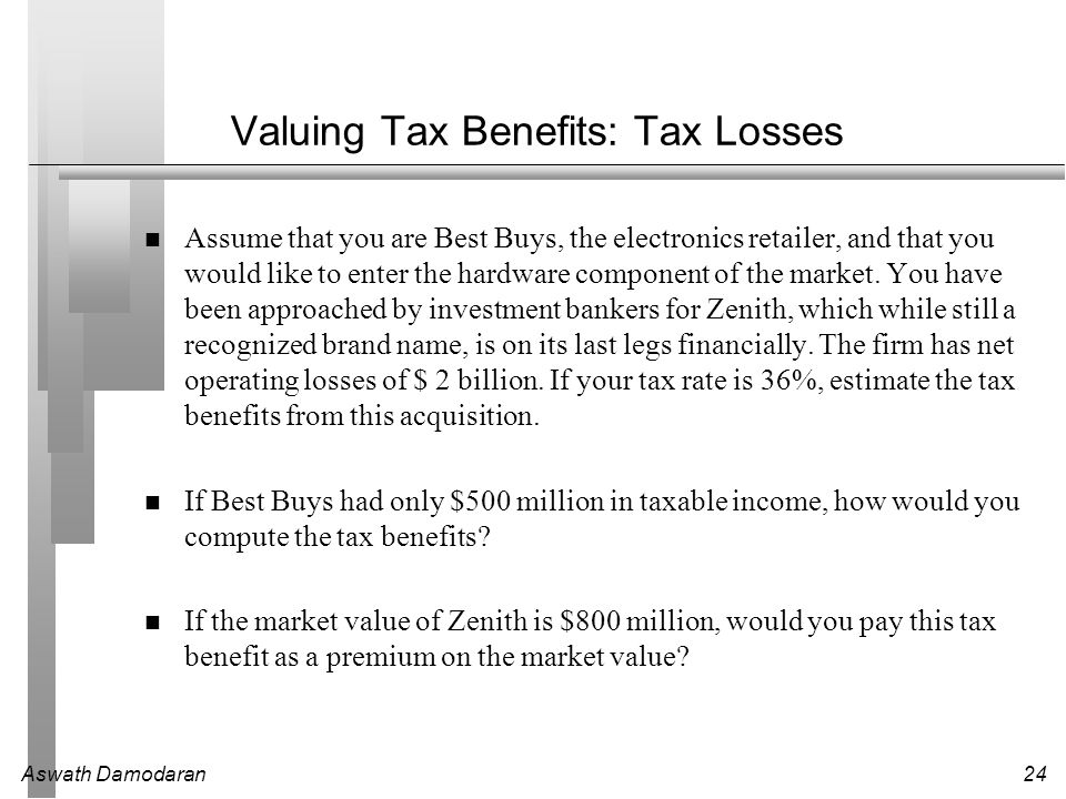 Aswath Damodaran24 Valuing Tax Benefits: Tax Losses Assume that you are Best Buys, the electronics retailer, and that you would like to enter the hard