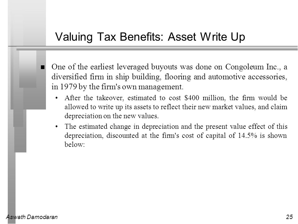 Aswath Damodaran25 Valuing Tax Benefits: Asset Write Up One of the earliest leveraged buyouts was done on Congoleum Inc., a diversified firm in ship b