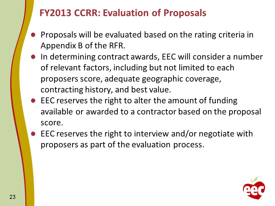 Proposals will be evaluated based on the rating criteria in Appendix B of the RFR.