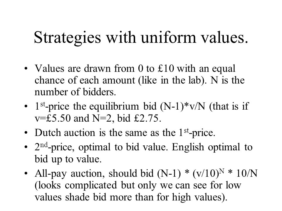 Strategies with uniform values. Values are drawn from 0 to £10 with an equal chance of each amount (like in the lab). N is the number of bidders. 1 st