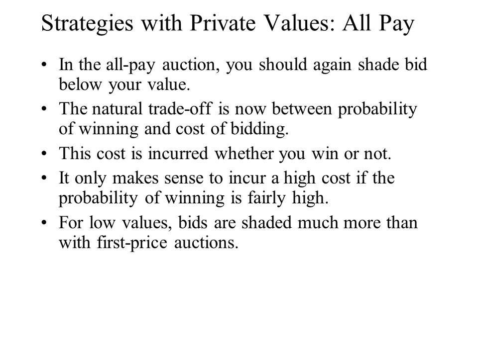 Strategies with Private Values: All Pay In the all-pay auction, you should again shade bid below your value. The natural trade-off is now between prob