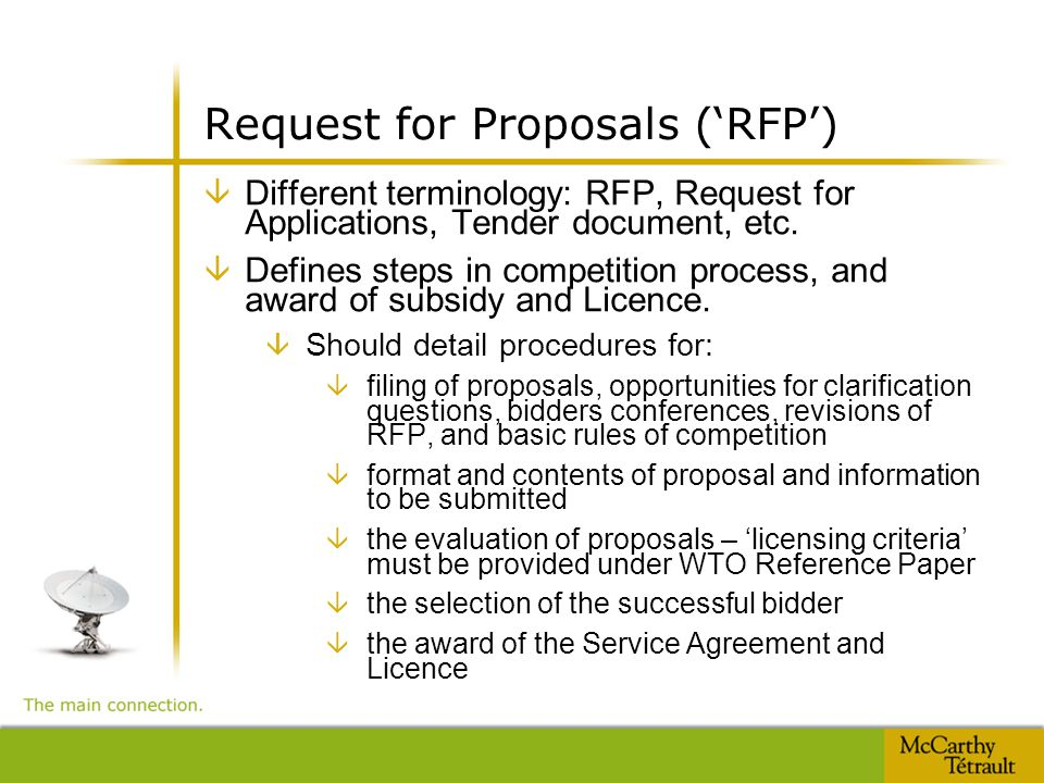 Request for Proposals ('RFP') â Different terminology: RFP, Request for Applications, Tender document, etc.