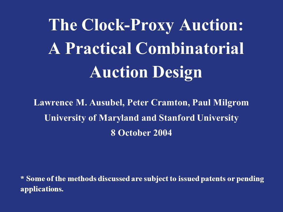 The Clock-Proxy Auction: A Practical Combinatorial Auction Design Lawrence M.