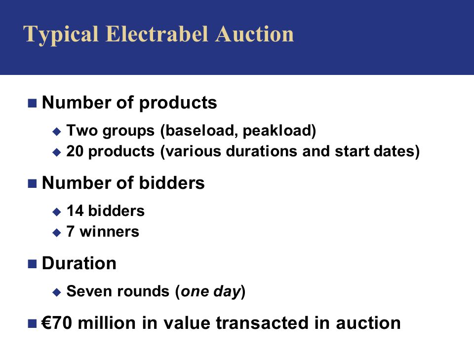 n Number of products u Two groups (baseload, peakload) u 20 products (various durations and start dates) n Number of bidders u 14 bidders u 7 winners n Duration u Seven rounds (one day) n €70 million in value transacted in auction Typical Electrabel Auction