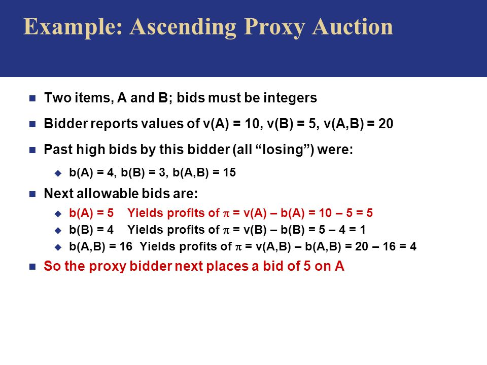 Example: Ascending Proxy Auction n Two items, A and B; bids must be integers n Bidder reports values of v(A) = 10, v(B) = 5, v(A,B) = 20 n Past high bids by this bidder (all losing ) were: u b(A) = 4, b(B) = 3, b(A,B) = 15 n Next allowable bids are: u b(A) = 5 Yields profits of  = v(A) – b(A) = 10 – 5 = 5 u b(B) = 4 Yields profits of  = v(B) – b(B) = 5 – 4 = 1 u b(A,B) = 16 Yields profits of  = v(A,B) – b(A,B) = 20 – 16 = 4 n So the proxy bidder next places a bid of 5 on A