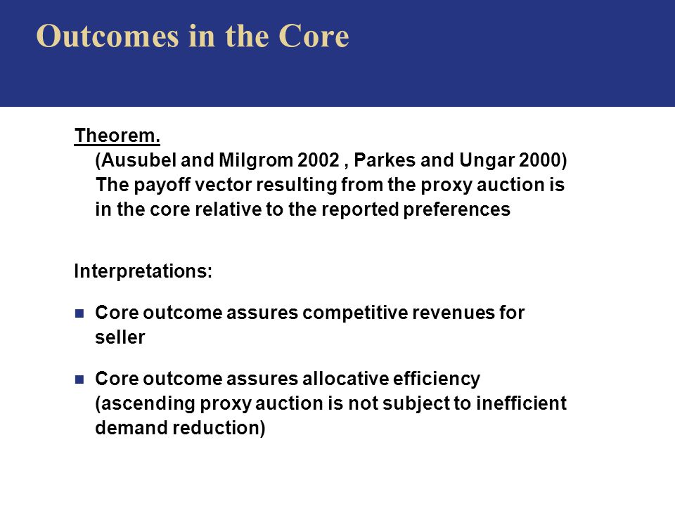 Outcomes in the Core Theorem.