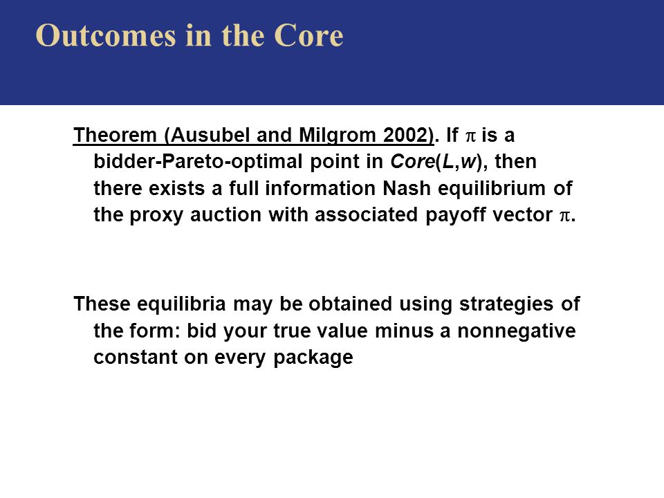 Outcomes in the Core Theorem (Ausubel and Milgrom 2002).