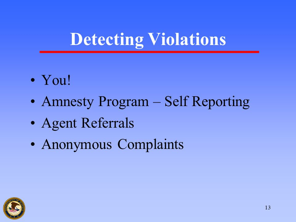 13 Detecting Violations You! Amnesty Program – Self Reporting Agent Referrals Anonymous Complaints