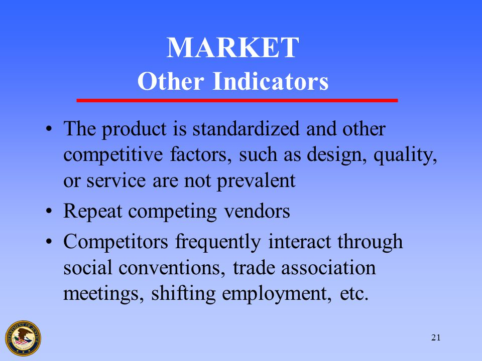 21 MARKET Other Indicators The product is standardized and other competitive factors, such as design, quality, or service are not prevalent Repeat com