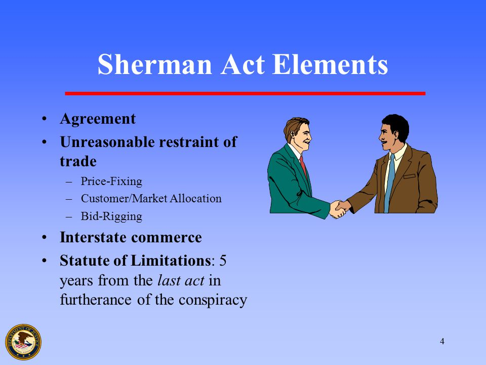 4 Sherman Act Elements Agreement Unreasonable restraint of trade –Price-Fixing –Customer/Market Allocation –Bid-Rigging Interstate commerce Statute of