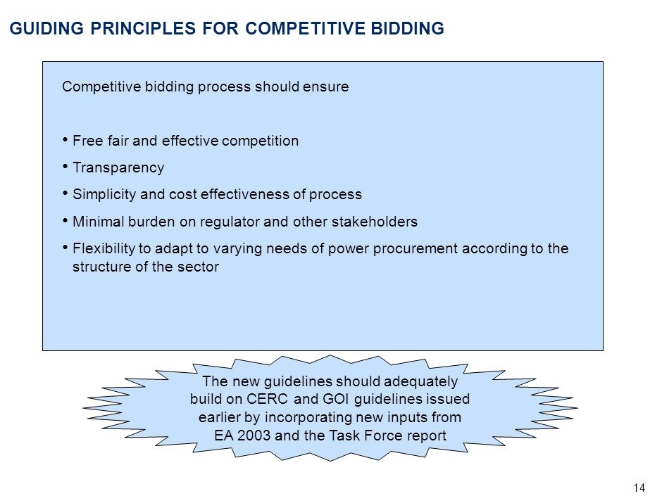 14 GUIDING PRINCIPLES FOR COMPETITIVE BIDDING Competitive bidding process should ensure Free fair and effective competition Transparency Simplicity an