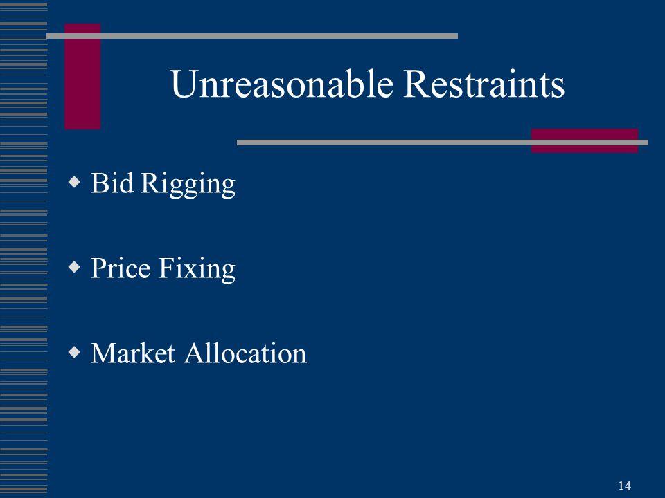 14 Unreasonable Restraints  Bid Rigging  Price Fixing  Market Allocation