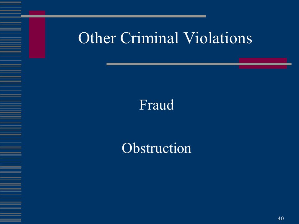 40 Fraud Obstruction Other Criminal Violations