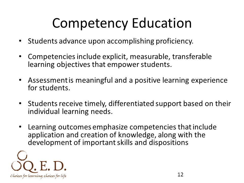Competency Education Students advance upon accomplishing proficiency.