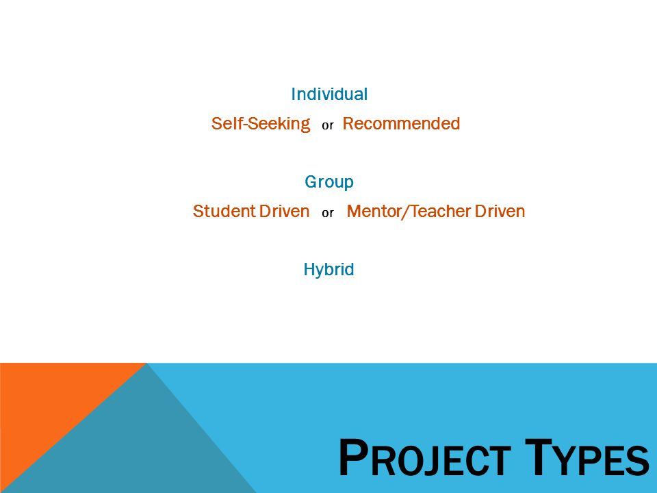 Individual Self-Seeking or Recommended Group Student Driven or Mentor/Teacher Driven Hybrid P ROJECT T YPES