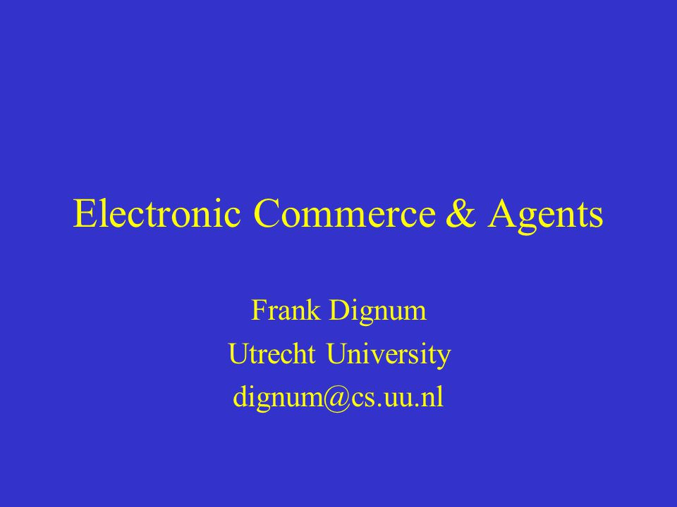 Overview Historical overview Definition of Electronic Commerce (EC) Examples of EC Electronic markets and auctions Agents The role(s) of agents in EC Conclusions