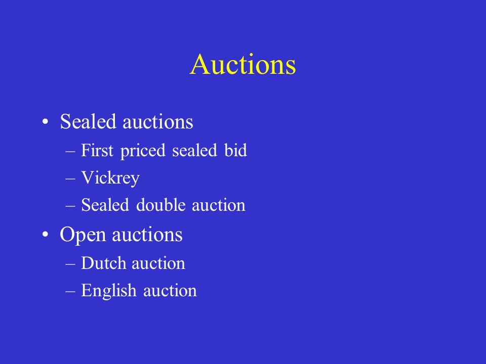 First price sealed bid Rules (protocol): –Bidders submit a single sealed bid before deadline Outcome: –Winner is highest bid at bid price Optimal strategy: –Bid just below private value of item –With N bidders bid: v(N-1)/N