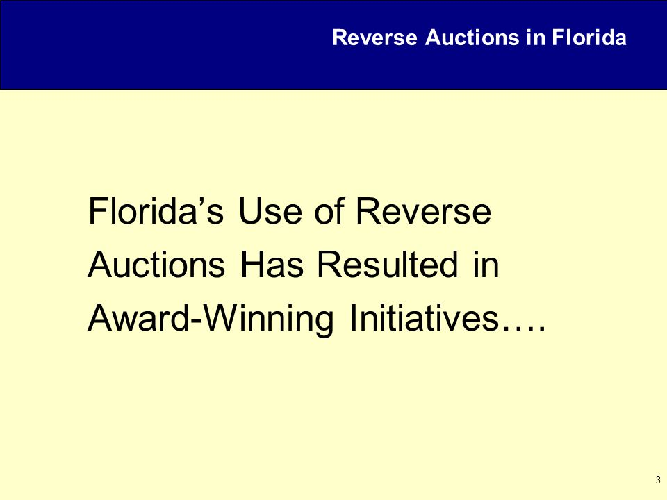 14 MyFloridaMarketPlace Office Consumables – Reverse Auction Results For the Paper and Non-Printed Envelopes event, 106 bids were entered by 9 vendors over 74 minutes time period.