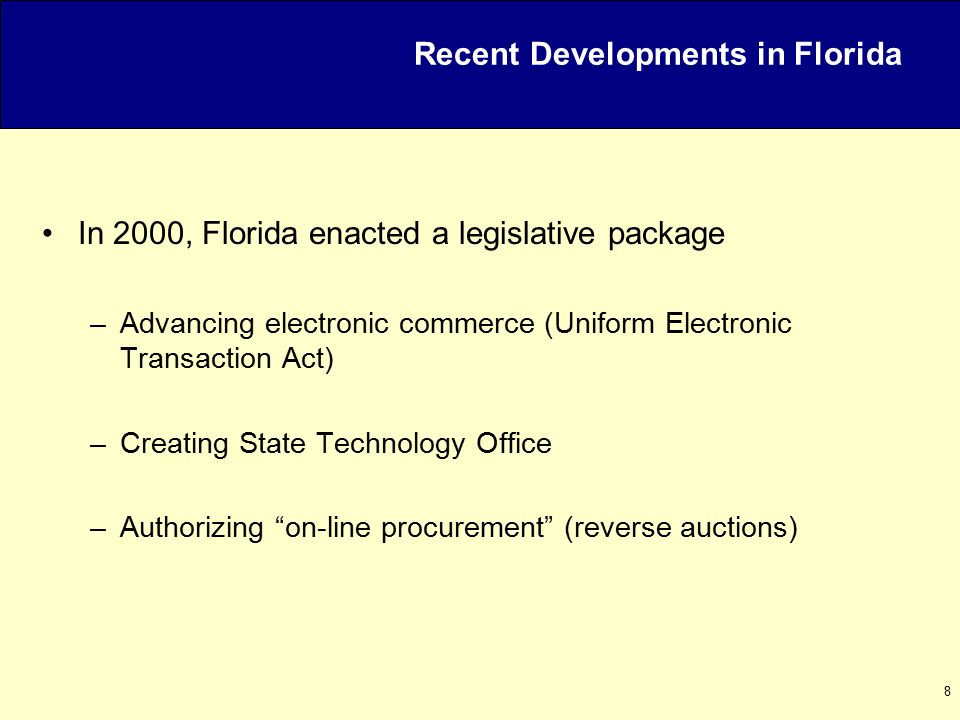 9 Florida's Early Experience Pilot Program with FreeMarkets in 2001 Four Reverse Auctions –Paper –Lamps –Lighting Fixtures –Computers