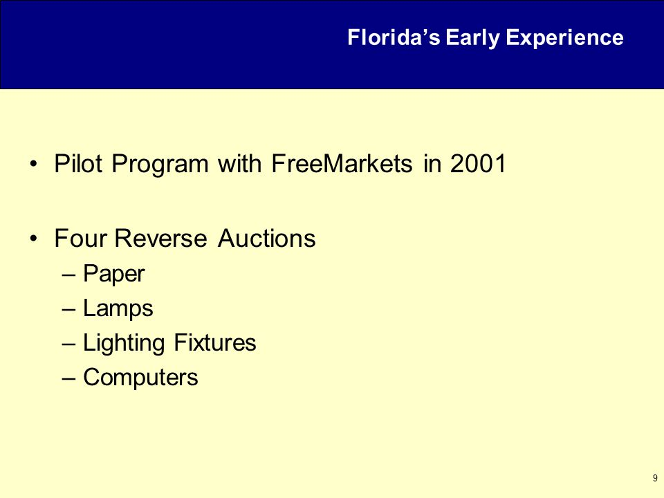 10 Reverse Auctions in Florida April 5, 2004 Agenda Welcome / Overview Recent Developments in Florida MyFloridaMarketPlace Experience Common Benefits and Risks Using Reverse Auctions Wisely Contact and Further Information