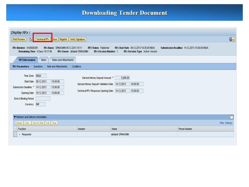 Downloading Tender Document