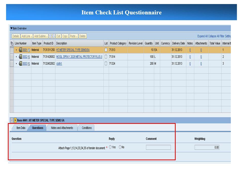 Item Check List Questionnaire