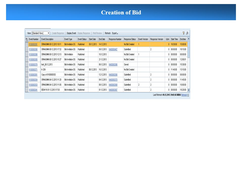 Creation of Bid
