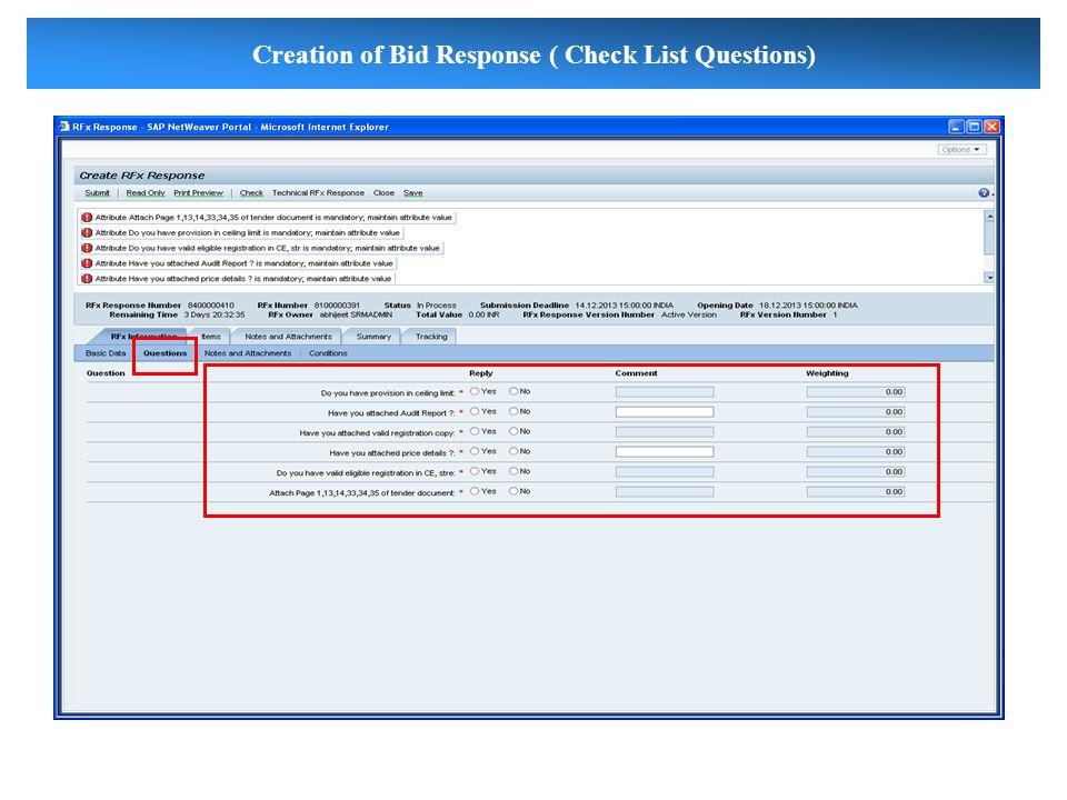 Creation of Bid Response ( Check List Questions)