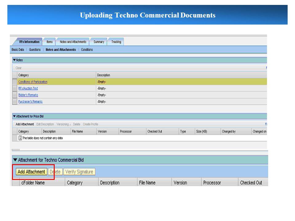 Uploading Techno Commercial Documents