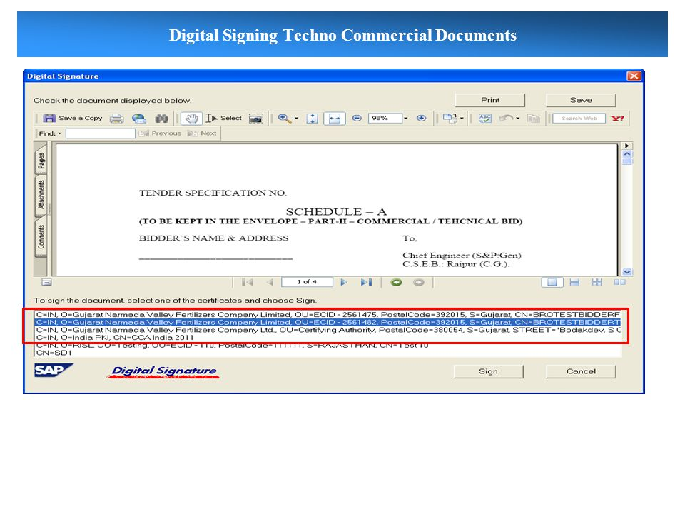 Digital Signing Techno Commercial Documents