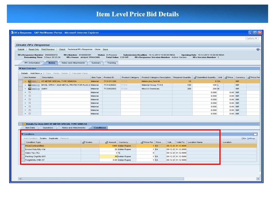 Item Level Price Bid Details