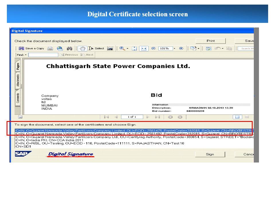 Digital Certificate selection screen