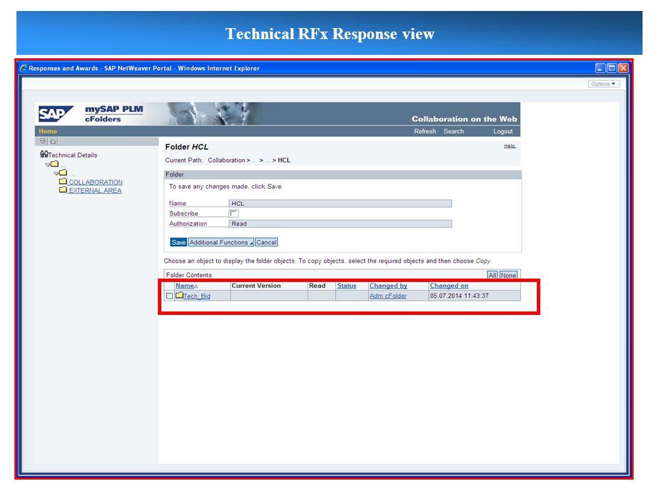 Technical RFx Response view
